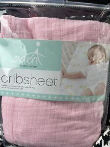 "Aden + Anais Pink Cotton Muslin Fitted Crib Sheet New 52x28"""