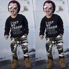 2PCS/Set Toddler Kids Baby Boy T-shirt Tops+Camouflage Long Pants Outfit Clothes
