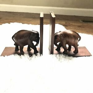 Vintage Carved Elephant Bookends Dark Wood Wooden Book Ends Statues India