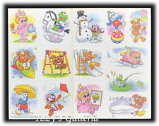 Vintage Muppets Baby Christmas Sledding Kermit Miss Piggy Fozzie Bear Stickers
