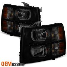 Fit 07-13 Chevy Silverado 1500 07-14 2500HD 3500HD Black Smoked LED Headlights