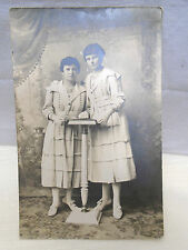 RPPC Photo Postcard 2 Women in White Gowns at White Pulpit