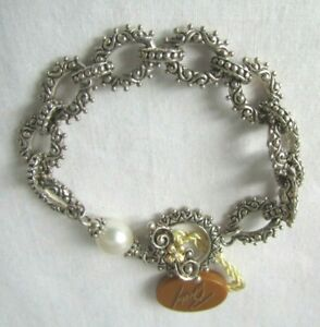Barbara Bixby Sterling Silver/18K Cultured Pearl Toggle Flower Design Bracelet