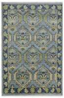 Hand Knotted Blue Oushak Wool Tribal New Nomadic Oriental Area Rug 4' x 6'1""