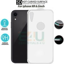 For Apple iPhone XR Back Rear Tempered Glass Screen Protector 5D White