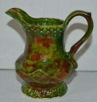 Vintage Ceramic Pottery Pitcher Signed Coleman 1983 Small 4 in Green Brown Art