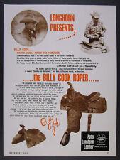 1979 Potts Longhorn Billy Cook Roper Saddle calf steer roping vintage print Ad
