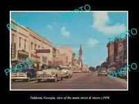 OLD POSTCARD SIZE PHOTO OF VALDOSTA GEORGIA THE MAIN STREET & STORES c1950
