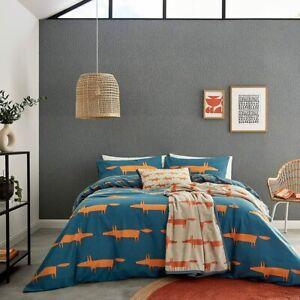 Scion Living Mr Fox Brushed Cotton Denim Orange Duvet Cover Set, Cushion / Throw
