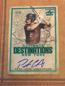 PETE CROW-ARMSTRONG 2020 Leaf Ultimate Draft Destinations Emerald AUTO #'d 7/25
