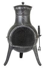 More details for new boxed la hacienda clifton steel chimenea heater w36 x h71cm - pewter colour