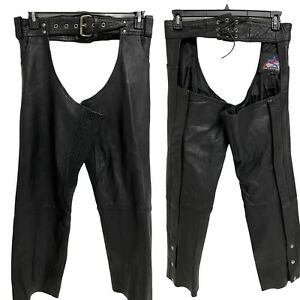 Jim Leather Inc Black Leather Motorcycle Chaps Women's XS (k-5)