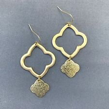 Elegant Gold Finish Hammered Charm Decor Clover Shaped Drop Dangle Hook Earrings