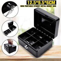 Durable Cash Box Money Bank Deposit Steel Tin Security Safe Petty Key Lockable^,