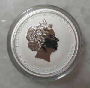 2012 Australian $1 DRAGON 1/2 OZ 999 Silver Lunar Coin