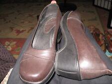 New WomenDansko brown leather heels pumpsblock heels Square toe EU37 /US6.5