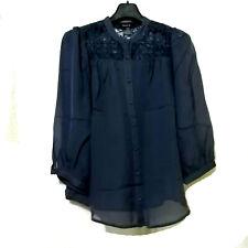 Arden B Navy Silk Top