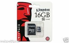 Kingston Carte mémoire Micro SDHC 16 Go avec adaptateur SD, 4 MB/s (27x) NEUF
