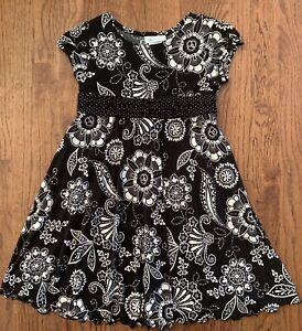 Bonnie Jean Girls Dress Sz 10 Black & White Floral Polka Dot Sash Tie Back EUC