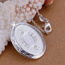 "925 Sterling Silver Oval Round Photo Locket Pendant  Necklace 18"" Snake Chain"