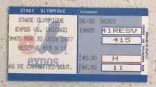 Ticket stub 1987 June 30th 19:05 Expos vs Cubs  SEC-415  ROW-H SEAT-11