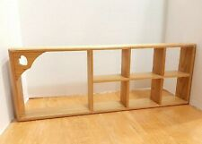 """Wooden 7 Section Wall Shelf with Heart Cut Out 24"""" x 9"""" x 2.75"""" Country Cottage"""
