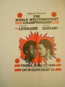 SUGAR RAY LEONARD vs ROBERTO DURAN CLOSED CIRCUIT BOXING POSTER 06/20/1980   EX