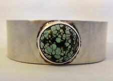 """7"""" Navajo High-Grade Spiderweb TURQUOISE simple classic BRACELET Sterling Silver"""