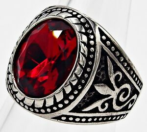 MEN RING RED RUBY STAINLESS STEEL SILVER SOLITAIRE FLEUR DE LIS BIKER GEM SIZE 9