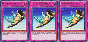 YUGIOH Card 3x Horn of Heaven LCJW-EN292 Ultra Rare 1st Edition Playset