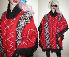 Vintage Ethnic RED Mexican HIPPY FRINGE Blanket Tapestry Cape PONCHO Jacket  XL