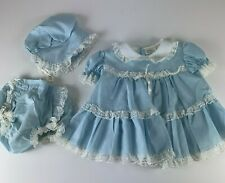 Vtg Bryan Medium 3-6 Mo Blue Dress with Waterproof Bloomers and Hat