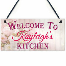Personalised Name Kitchen Sign Mum / Sister / Friend Hanging Plaque Home Floral