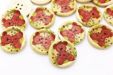 Large Teddy Bear Wood Button Animal Bears Children Baby Four Holes 30mm 20pcs
