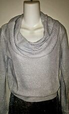 WHITE HOUSE BLACK MARKET-sz L--SILVER SHIMMER COWL NECK SWEATER--NWT-GORGEOUS!!
