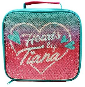 Hearts by Tiana Lunch Bag Insulated Pink Girls Reversible Sequin TTSquad School
