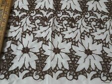 "Vintage Broderie Anglaise Cotton Eyelet Lace Brown White Linen Fabric 40"" Wide"
