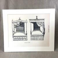 1900 Viktorianisch Aufdruck Antik Hepplewhite Möbel Baldachin Bett Vier Poster