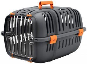 Grey & Orange Cat Carrier Pet Puppy Basket Safe Travel Crate Vet Transport Box