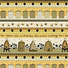 Animal Fabric - Bee A Keeper Hive Stripe Yellow Beige - Studio E YARD