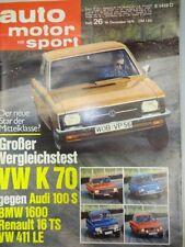 Auto Motor Sport 26 / 70 1970, BMW 2800 Alpina, Audi 100 S, VW 411, Hanomag F 20