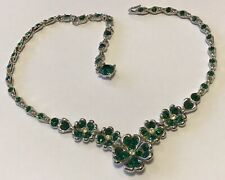 VINTAGE BOGOFF SIGNED GREEN AND CLEAR RHINESTONE NECKLACE