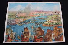 C675 Affiche scolaire vintage Misere Temps fronde Rossignol Siège de la Rochelle
