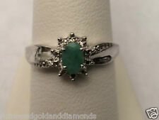 White Gold Oval Halo ALL REAL Natural Emerald Diamonds Birth Stone Ring