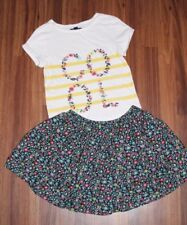 Girl GAP KIDS - Navy Floral Skirt & Short Sleeve Striped 'COOL' Shirt Top L 10