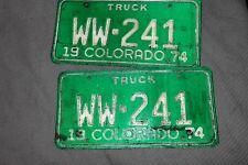 Vintage 1974 Colorado License Plates matched set Truck WW-241