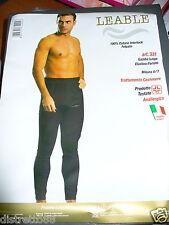 calzamaglia uomo senza piede LEABLE cotone caldo felpato nero Tg 5/L art.331