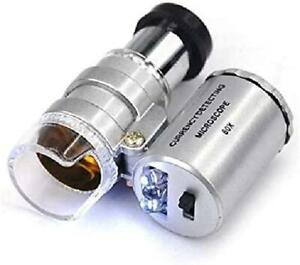 Mini 60X LED Mikroskop, Taschenmikroskop Lupe Mikroskop für Juwelier Einstellbar