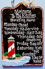 LIGHTHOUSE Kitchen Operating Hours SIGN Wall Plaque Seaside Nautical Beach Decor
