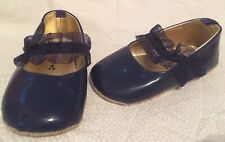 Old Navy Blue Baby Girl Size 3 Leather Booties Crib Shoes Moccasins Mary Jane